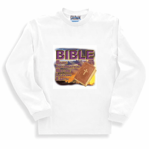 Christian long sleeve t-shirt or sweatshirt BIBLE Basic information instructions before leaving earth