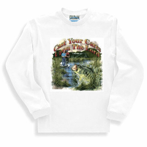 Christian long sleeve t-shirt or sweatshirt Cast you cares upon the Lord for He cares for you FISHING