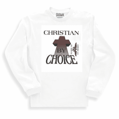 Christian long sleeve t-shirt or sweatshirt Christian by grace american by choice
