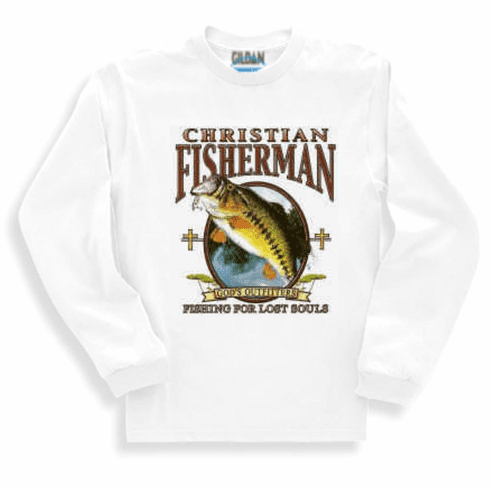 Christian long sleeve t-shirt or sweatshirt Christian Fisherman fishing for souls God's outfitters