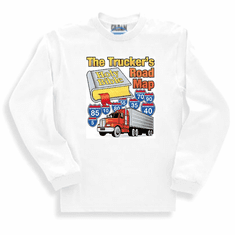 Christian long sleeve T-shirt or sweatshirt the Truckers road map OTR semi-truck truck driver Bible