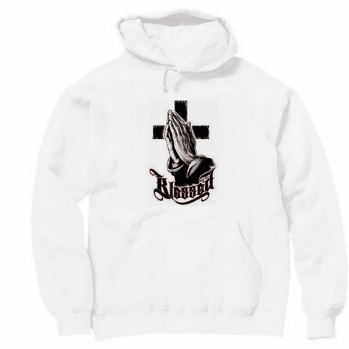 Christian pullover hooded hoodie sweatshirt Blessed praying hands and cross prayer