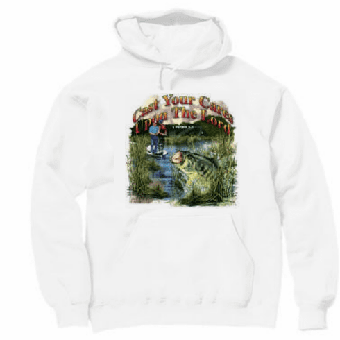Christian pullover hooded hoodie sweatshirt Cast you cares upon the Lord for He cares for you FISHING