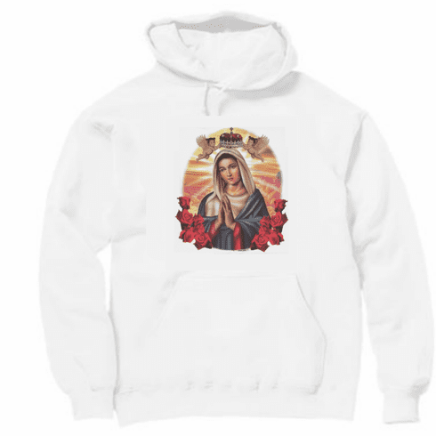 christian pullover hooded hoodie sweatshirt catholic Mother Mary