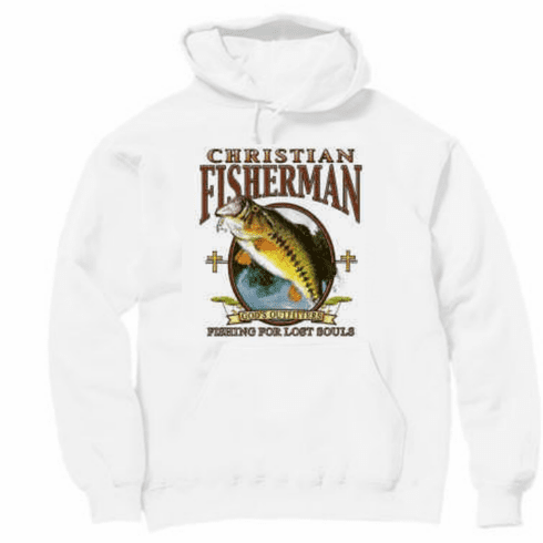 Christian pullover hooded hoodie sweatshirt Christian Fisherman fishing for souls God's outfitters