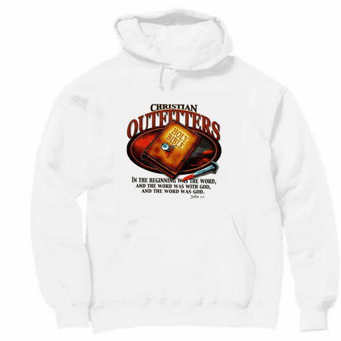 christian pullover hooded hoodie sweatshirt Christian outfitters BIBLE in beginning was WORD