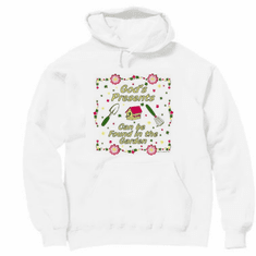 christian pullover hooded hoodie sweatshirt God's presents can be found in the garden