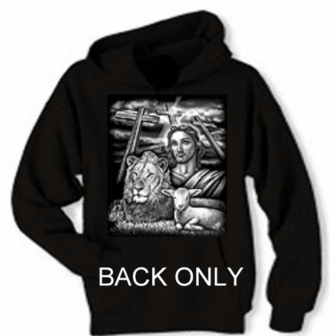 Christian pullover hooded hoodie sweatshirt: Jesus Lion and Lamb all side by side