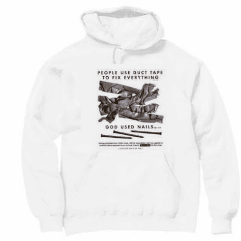 Christian Pullover Hooded Hoodie Sweatshirt People use duct tape to fix everything God used nails.