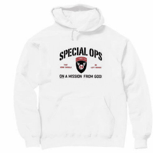 Christian pullover hooded hoodie sweatshirt Special OPS on a mission from God