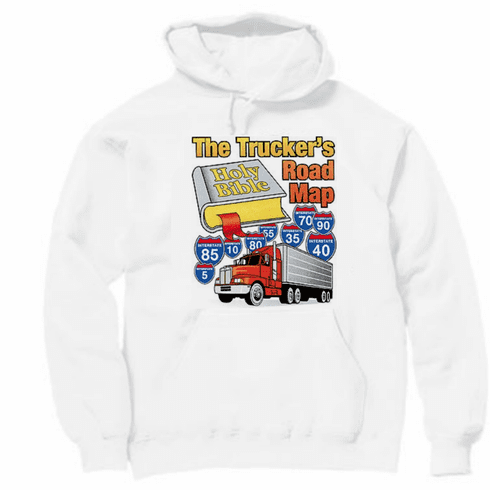 Christian pullover hooded hoodie sweatshirt the Truckers road map OTR semi-truck truck driver Bible