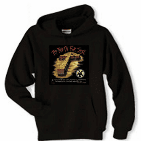 Christian pullover hooded hoodie sweatshirt Try this on for size the cross of Jesus