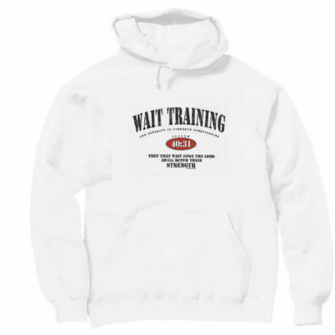 Christian pullover hooded hoodie sweatshirt WAIT TRAINING wait upon Lord renew strength