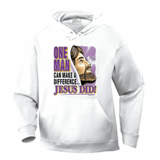 Christian pullover hoodie sweatshirt: One man can make a difference... Jesus did!