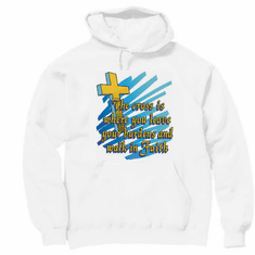 Christian pullover hoodie sweatshirt: The cross is where you leave your burdens and walk in faith