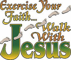 Christian Shirt:  Exercise your faith Walk with Jesus