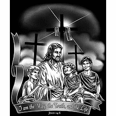 Christian Shirt:  Jesus Way Truth and LIFE with children on lap