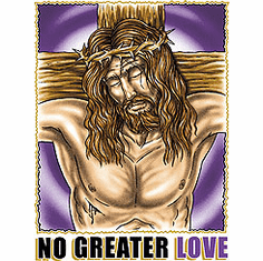 Christian shirt: No greater love - (Jesus on the cross)
