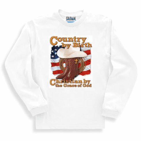 Christian Sweatshirt or long sleeve T-shirt - Country by birth Christian by the grace of God