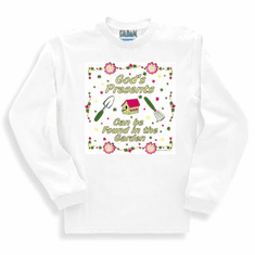 christian sweatshirt or long sleeve t-shirt God's presents can be found in the garden