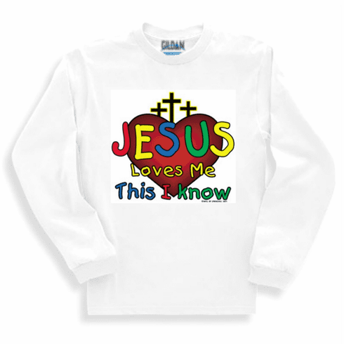 christian sweatshirt or long sleeve t-shirt Jesus loves me this I know