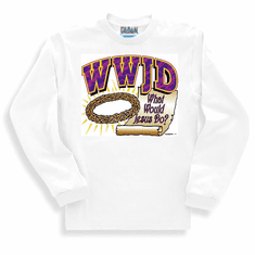 Christian sweatshirt or long sleeve T-Shirt: WWJD What Would Jesus Do?