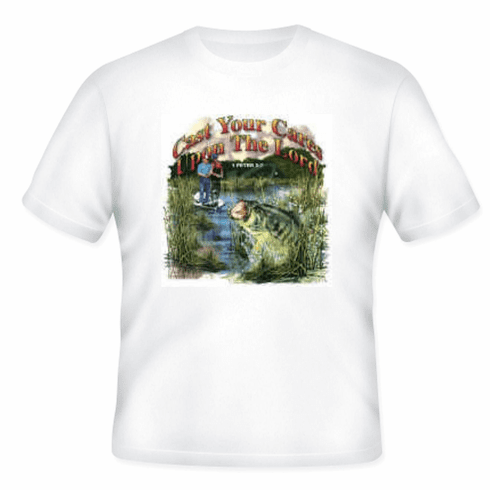Christian t-shirt Cast you cares upon the Lord for He cares for you FISHING