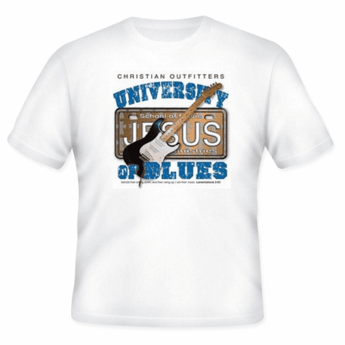 Christian t-shirt Christian outfitters University of JESUS Blues