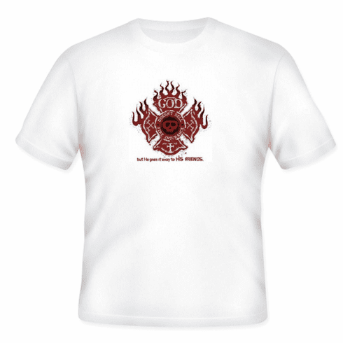 Christian t-shirt God doesn't sell fire insurance He gives it away JESUS