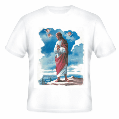 Christian T-shirt portrait of Jesus Christ angels overlooking city