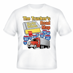 Christian T-shirt the Truckers road map OTR semi-truck truck driver Bible