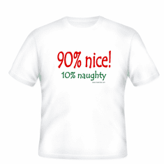 Christmas T-Shirt 90% Nice 10% naughty