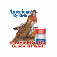 Country and Western Rodeo American by birth Cowgirl by the grace of God t-shirt shirt