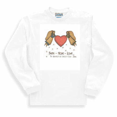 Country Christian long sleeve T-shirt or sweatshirt Faith Hope Love angels heart