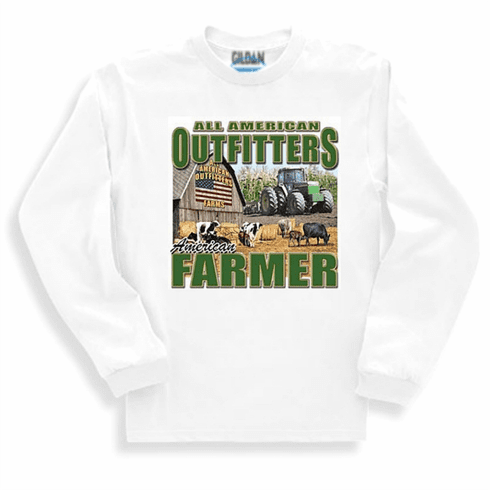 Country Decorative All American Outfitters American farmer barn flag tractor long sleeve tshirt sweatshirt