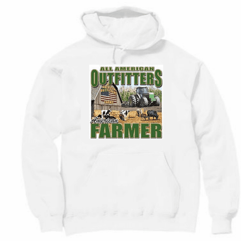 Country Decorative All American Outfitters American farmer barn flag tractor pullover hoodie hooded sweatshirt