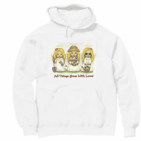 Country Decorative Angels All things grow with love pullover hoodie hooded sweatshirt