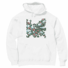 Country Decorative Bird on a cherry tree pullover hoodie hooded sweatshirt