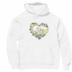 Country Decorative Birds bird heart shaped flower wreath pullover hoodie hooded sweatshirt