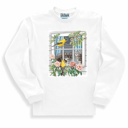 Country Decorative birds flowers cats kitty cat long sleeve tshirt sweatshirt