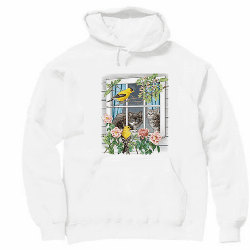 Country Decorative birds flowers cats kitty cat pullover hoodie hooded sweatshirt