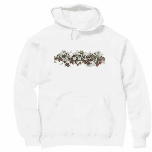 Country Decorative birds on a branch of strawberries pullover hoodie hooded sweatshirt