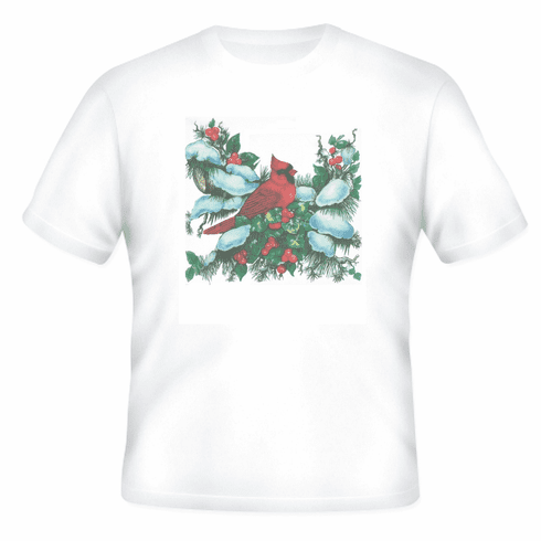 Country Decorative cardinal bird snow berries tree tshirt shirt