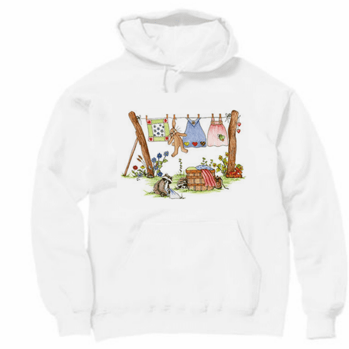 Country Decorative clothesline bunny raccoon pullover hoodie hooded sweatshirt