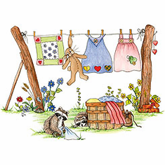 Country Decorative clothesline bunny raccoon tshirt shirt