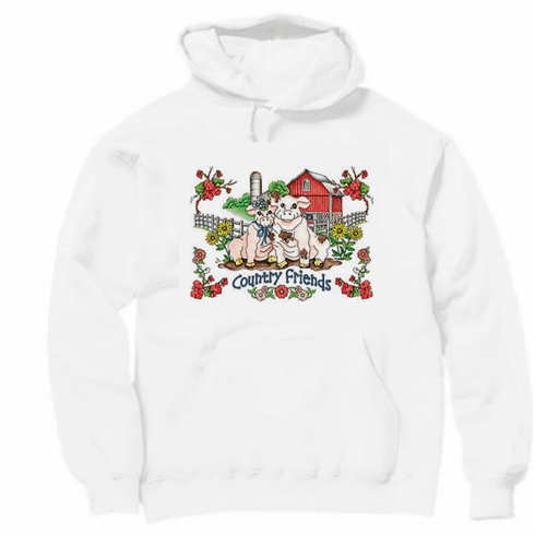 Country Decorative country friends pig pigs pullover hoodie hooded sweatshirt