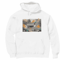 Country Decorative covered bridge fall leaves pullover hoodie hooded sweatshirt
