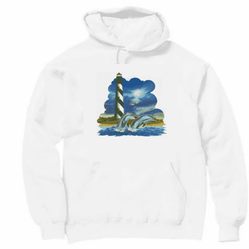 Country Decorative dolphins light house pullover hoodie hooded sweatshirt