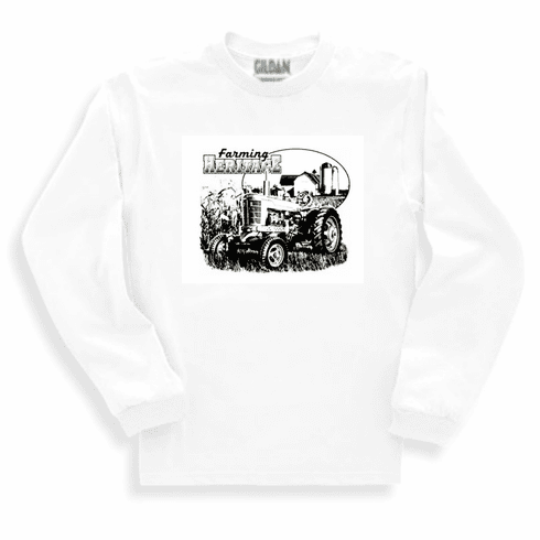 Country Decorative farming heritage farm scene tractor long sleeve tshirt sweatshirt