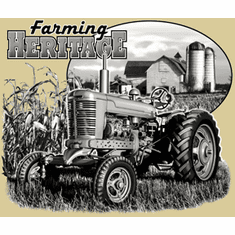 Country Decorative farming heritage farm scene tractor tshirt shirt